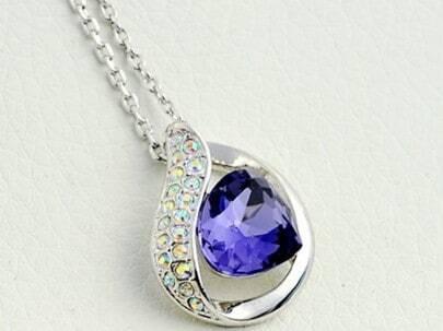 Purple Hollow Teardrop Crystal Pendant Sterling Silver Necklace