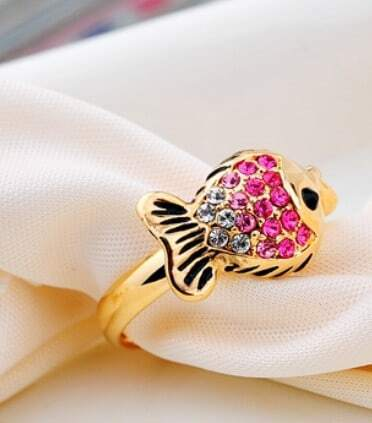 Pink Fish Diamond Retro Stenciling Woman Opening Ring