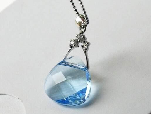 Blue Round Handbag Swarovski Crystal Pendant
