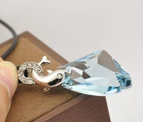 Silver Dolphin And Sky Blue Teardrop Swarovski Crystal Pendant