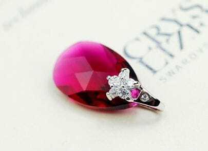 Red Teardrop Swarovski Crystal Silver White Gold And Diamond Flower Buckle Pendant