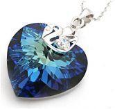 Sapphire Multi-Faceted Cut Heart Austria Swarovski Crystal With Silver Single Drill Swan Pendants