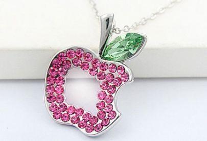 Pink Hollow Apple Green Swarovski Austria Crystal Pendant