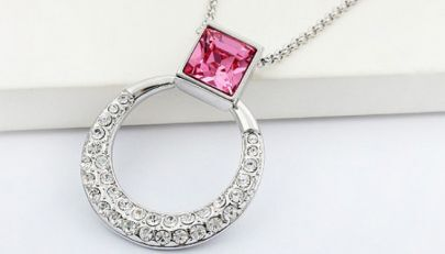 Pink Square Swarovski Austria Crystal with Sterling Silver Round Pendant