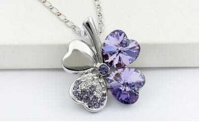 Purple Heart Swarovski Austria Crystal Clover Pendant