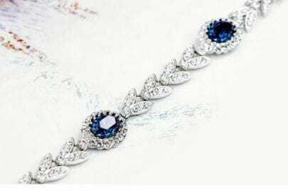 Sapphire Round Austria Swarovski Crystal Silver Leaf Link Bracelets