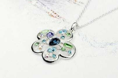 Flower With Multicolor Swarovski Crystal Pendant