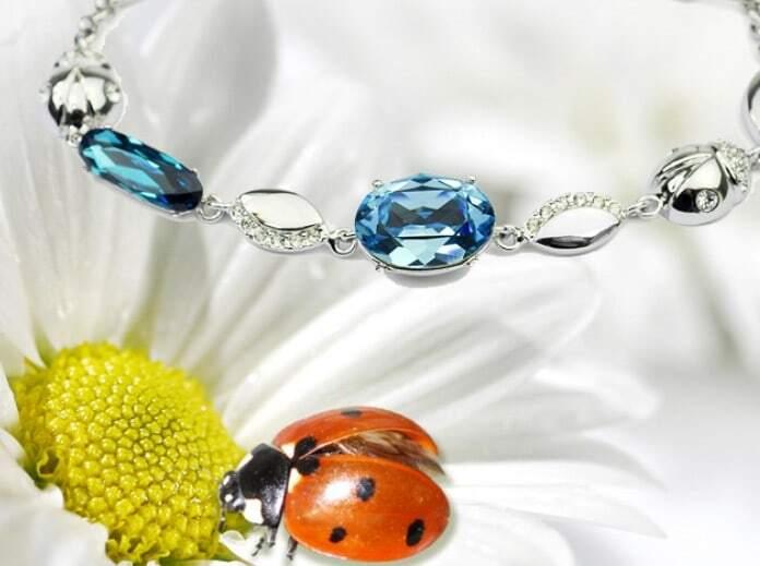 Blue Oval Austria Swarovski Crystal Beatles White Gold Plated Link Bracelets