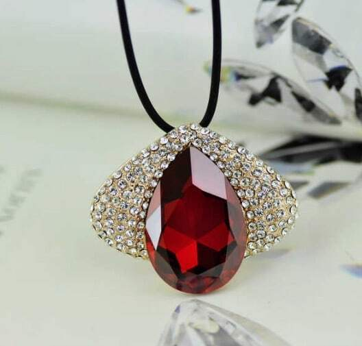 Red Wine Teardrop Swarovski Austria Crystal Eye Gilded Pendant