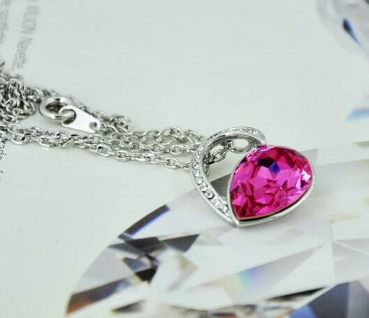 Dark Pink Teardrop Swarovski Austria Crystal Hollow Heart Pendant