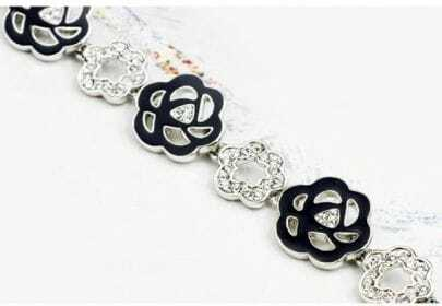 Black Flower Austria Swarovski Crystal White Gold Plated Link Bracelets