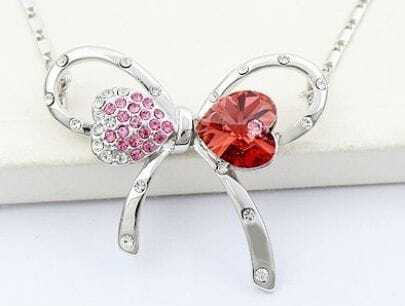 Butterfly With Red Swarovski Crystal And Pink Diamond Pendant