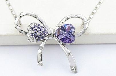 Butterfly With Purple Swarovski Crystal And Purple Diamond Pendant