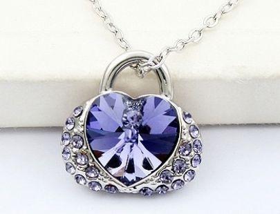 Bag With Purple Heat Swarovski Crystal Pendant
