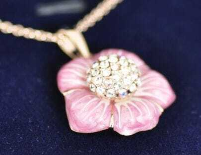 Pink Flower With Diamond Pendant