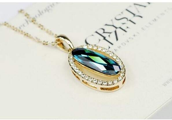 Blue Oval Austria Swarovski Crystal White Gold Plated Round Pendant