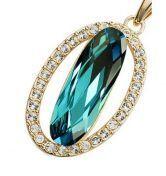 Blue Oval Austria Swarovski Crystal White Gold Plated Round Pendant