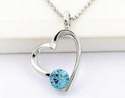 Heart With Sky Blue Round Swarovski Crystal Pendant