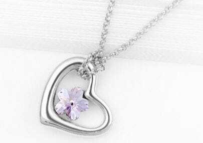 Heart White Gold Plated With Purple Flower Swarovski Crystal White Gold Plated Necklace