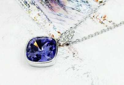 Purple Square Austria Crystal Pendant White Gold Plated Necklace