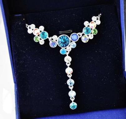 Multicolor Round Austria Crystal Diamond Pendant White Gold Plated Necklace