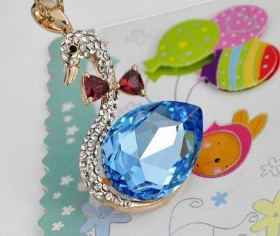 Swan With Sky Blue Teardrop Swarovski Crystal Pendant Gilded Necklace