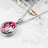 Pink Round Austria Swarovski Crystal Pendant White Gold Plated Necklace