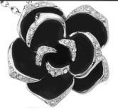 Black Flower Austria Swarovski Crystal Pendant White Gold Plated Necklace