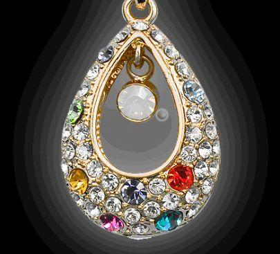 Multicolor Teardrop Austria Swarovski Crystal Pendant Gilded Necklace