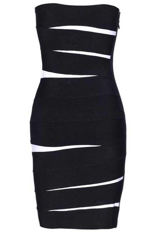 Low Cut Dress Black H004e Sheinsheinside