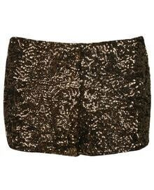 Golden Sequins Skinny Stretch Shorts