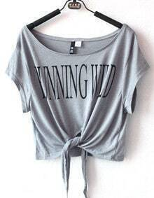 Grey RUNNING WILD Print Short Sleeve Tie Front T-shirt