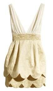 Beige Deep V Neck Ruffles Scallop Hem Party Dress