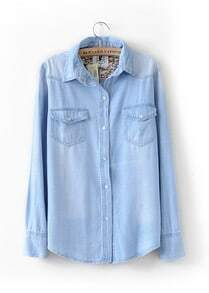 Light Blue Floral Lining Denim Shirt