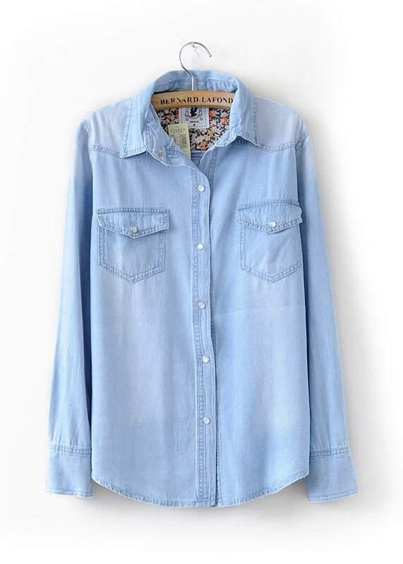 Light blue floral lining denim shirt shein sheinside for Ladies light denim shirt