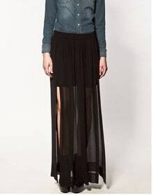 Chiffon Side Vents Full Length Skirt