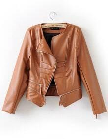 Brown PU Leather Zipper Short Jackets