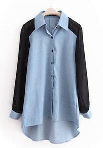 Light-blue Lapel Patchwork Chiffon Denim Shirt