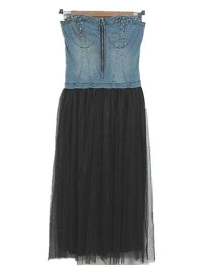 163c993fdaa Denim Patchwork Net Boob Tube Top Dress