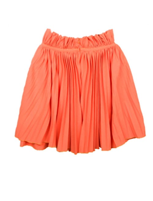 orange chiffon pleated mini skirt shein sheinside