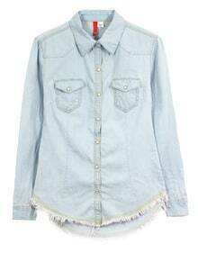 Tassel Lapel Long-sleeved Solid Denim Shirt