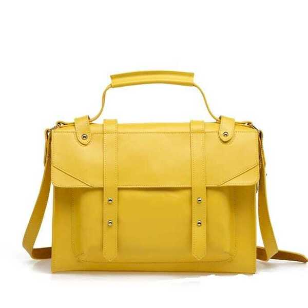 Vintage Yellow Leather Satchel Bag | SHEIN