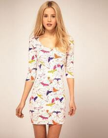 Colorful Birds Printed Slim Dress