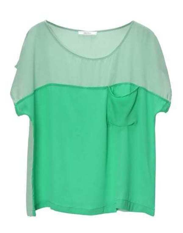 a701a06a87 Pokcets Color Matching Loose Chiffon Shirt Green -SheIn(Sheinside)