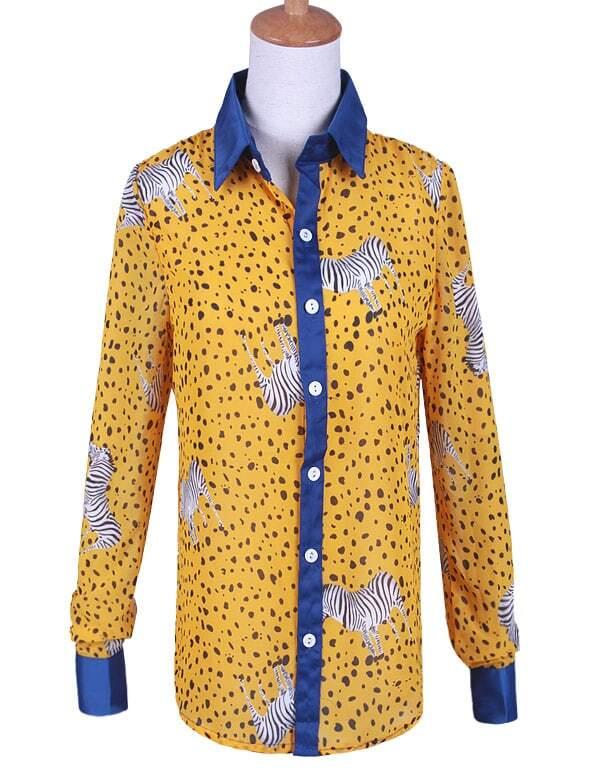 92fff990 Yellow Zebra spot Print Long Sleeve Chiffon Shirt | SHEIN