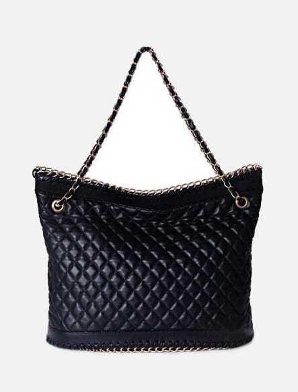 Black Vintage PU Argyle Chain Zipper Shoulder Bag -SHEIN(SHEINSIDE) 49a79bd9c6