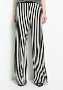 Black And White Color Block Broken Stripe Loose Chiffon Pants