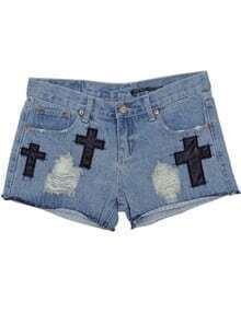 Light Blue High Waist Bleached Ripped Denim Shorts