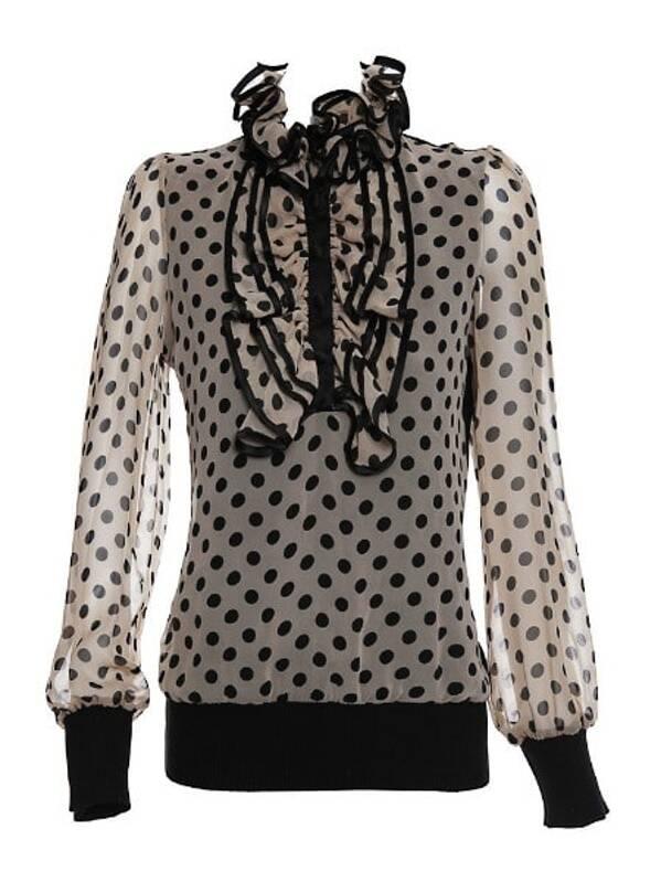 6344727b6b778 Grey V Neck Long Sleeve Ruffles Polka Dot Silk Shirt