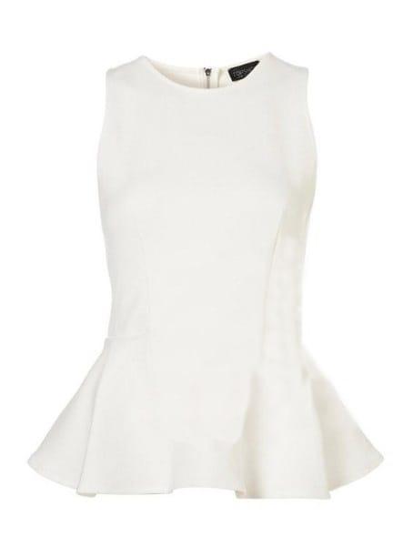 31cd8643bae634 White Round Neck Sleeveless Zipper Peplum Top